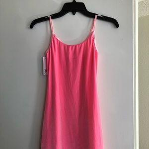 Fitted pink velvet dress
